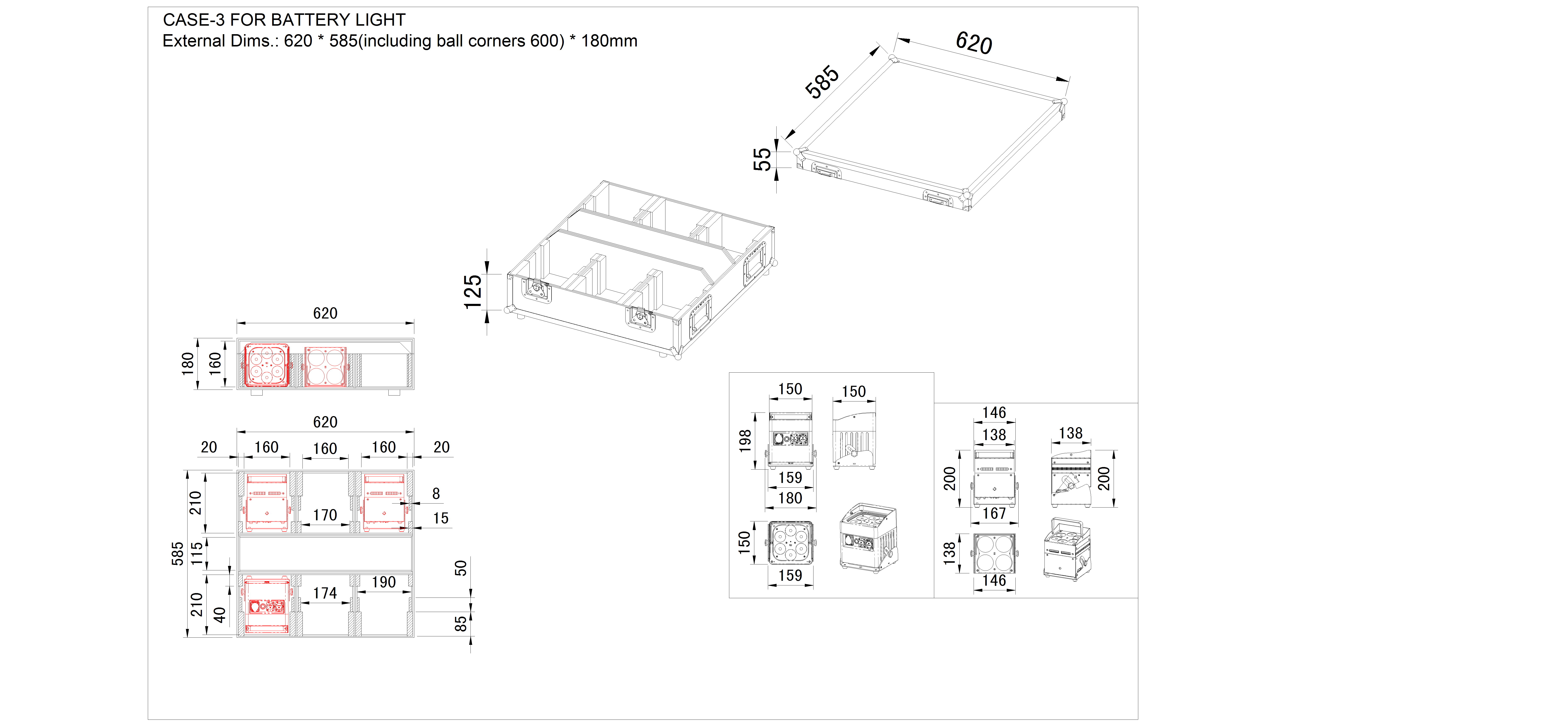 CASE-3 FOR BATTERY LIGHTS - Dimensions